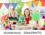 kids birthday party. child... | Shutterstock . vector #1064184470