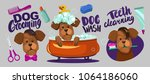 dog grooming. set of vector... | Shutterstock .eps vector #1064186060