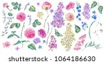 set of vintage watercolor roses ... | Shutterstock . vector #1064186630
