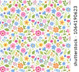 Stock vector vector seamless pattern pretty pattern in small multicolored flower small flowers white 1064190623
