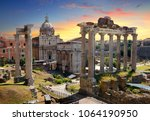 temples and ruins of roman forum | Shutterstock . vector #1064190950