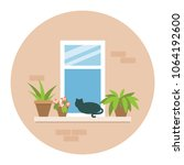 window with cat and flower pots ... | Shutterstock .eps vector #1064192600