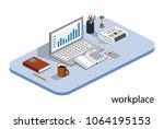 isometric 3d illustration books ... | Shutterstock . vector #1064195153