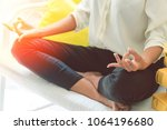 attractive hold hand of...   Shutterstock . vector #1064196680