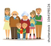 happy family. father  mother ... | Shutterstock .eps vector #1064198126