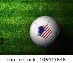 The United States  Flag Pattern 3d rendering of a soccer ball in green grass - stock photo