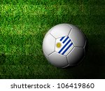 UruguayFlag Pattern 3d rendering of a soccer ball in green grass - stock photo