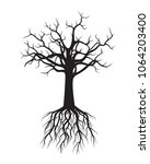 black naked tree with roots.... | Shutterstock .eps vector #1064203400