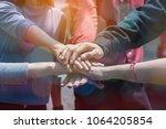 multiethnic ethnic business... | Shutterstock . vector #1064205854