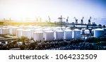 oil refinery plant against blue ... | Shutterstock . vector #1064232509