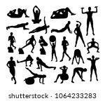 vector fitness silhouettes | Shutterstock .eps vector #1064233283