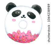 watercolor panda donuts on... | Shutterstock . vector #1064238989