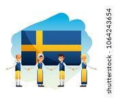 midsummer swedish celebration | Shutterstock .eps vector #1064243654