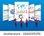 business team doing data... | Shutterstock .eps vector #1064245190