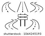 road icons  outlined  black... | Shutterstock .eps vector #1064245193