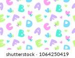 bubble letters  vector seamless ... | Shutterstock .eps vector #1064250419