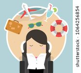 businesswoman sleep at work and ... | Shutterstock .eps vector #1064256854