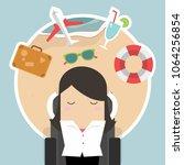 businesswoman sleep at work and ... | Shutterstock .eps vector #1064256854