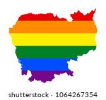 lgbt flag map of cambodia.... | Shutterstock .eps vector #1064267354