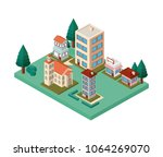 mini trees and buildings...   Shutterstock .eps vector #1064269070