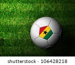 Ghana Flag Pattern 3d rendering of a soccer ball in green grass - stock photo
