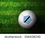 Botswana Flag Pattern 3d rendering of a soccer ball in green grass - stock photo