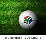 South Africa Flag Pattern 3d rendering of a soccer ball in green grass - stock photo
