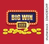 lucky sevens jackpot in golden... | Shutterstock .eps vector #1064285249