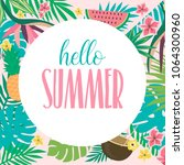 summer card with tropical... | Shutterstock .eps vector #1064300960