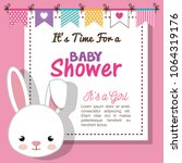 baby shower invitation with... | Shutterstock .eps vector #1064319176