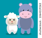 cute couple stuffed animals | Shutterstock .eps vector #1064319263