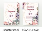 Stock vector wedding invitation frame set flowers leaves watercolor isolated on white sketched wreath 1064319560