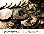 golden bitcoins  electronic...   Shutterstock . vector #1064319740
