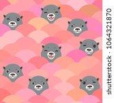 kawaii grey otters head. funny... | Shutterstock .eps vector #1064321870