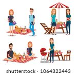 young people in picnic day scene | Shutterstock .eps vector #1064322443