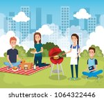 young people in picnic day scene | Shutterstock .eps vector #1064322446