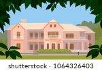 luxury pink house in... | Shutterstock .eps vector #1064326403