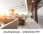 side view of open space office... | Shutterstock . vector #1064336759