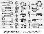 kitchenware. hand drawn cooking ... | Shutterstock .eps vector #1064340974