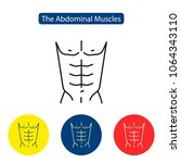 the abdominal muscles fit icon. ... | Shutterstock .eps vector #1064343110