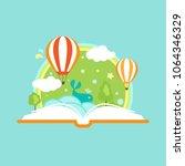 open book with air balloons ... | Shutterstock .eps vector #1064346329