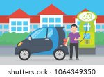 electric car charging   Shutterstock .eps vector #1064349350