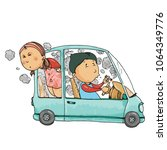 cute and funny couple driving a ... | Shutterstock .eps vector #1064349776