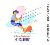 kitesurfing. sportsman...   Shutterstock .eps vector #1064352458