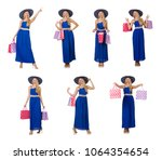 woman with shopping bags... | Shutterstock . vector #1064354654