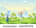 boy plays golf on a golf course ... | Shutterstock .eps vector #1064359598