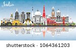india city skyline with color...   Shutterstock .eps vector #1064361203