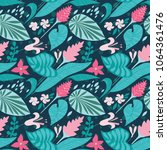 tropical floral background... | Shutterstock .eps vector #1064361476