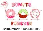 three cute donut in kawaii... | Shutterstock .eps vector #1064363483