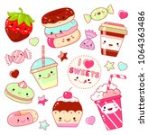 set of cute sweet icons in... | Shutterstock .eps vector #1064363486